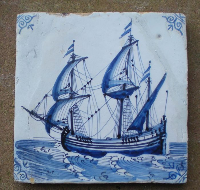 Antique tile with a three-master ship