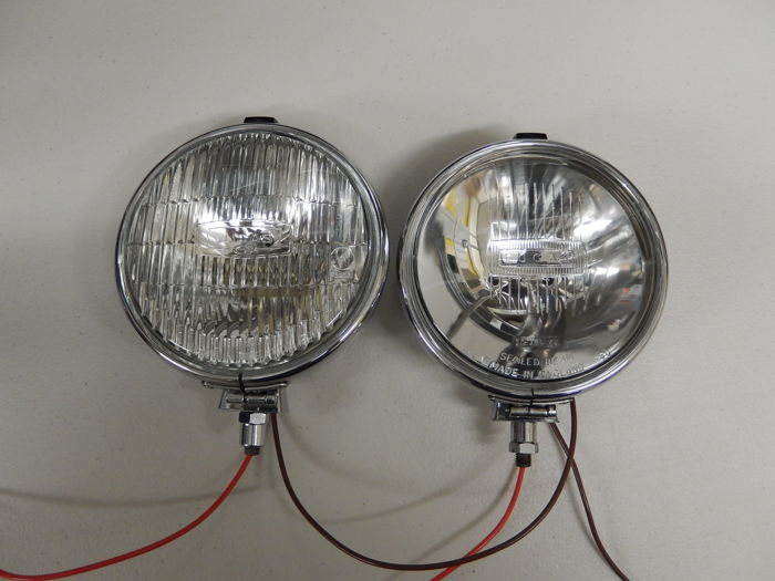 A Pair of Chrome 1950's Lucas Matching FT6/9 and LR6/9 One Spot light and One Fog light in Excellent Used Vintage Condition