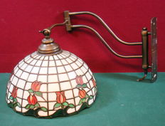Wall lamp stained glass with extendable brass holder, decor of tulips