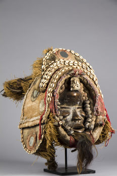 Deangle dance mask with a headdress - DAN - Ivory Coast