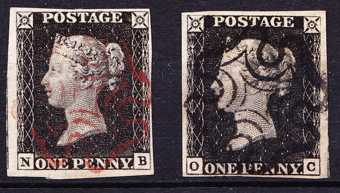 Great Britain 1840 Queen Victoria - two penny blacks, Stanley Gibbons 2.