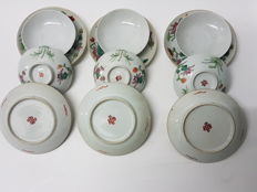 Set of six porcelain rice bowls and saucers - China - 19th century