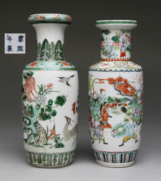 Two Antique Chinese Porcelain Famille Verte Rouleau Vases China