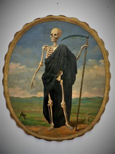 "Painting ""The Death, man with the scythe"", oil on canvas - Flanders (Belgium) - 18th - 19th century"