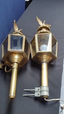 Set bronze carriage lanterns, France, mid 20th century