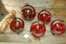 Very large glass Christmas balls Ø 12 / 15 cm - blown and engraved
