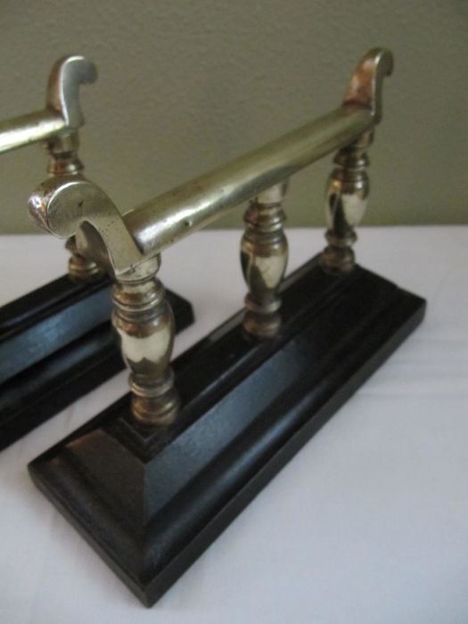 a pair of brass  cast iron fireplace dogs  andirons Antique Cast Iron Fireplace Andirons Log Dogs Cast Iron