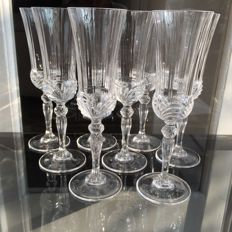 Lot of 8 heavy crystal champagne flutes