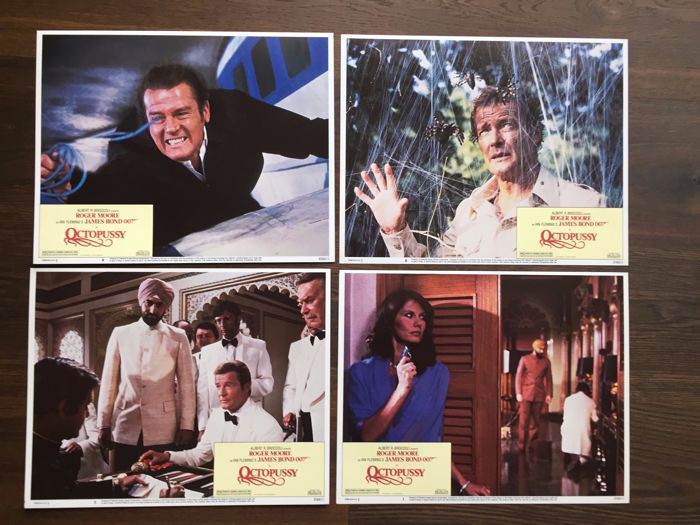 James Bond Octopussy 8 x USA Lobby Cards 1979 Roger Moore Maud Adams