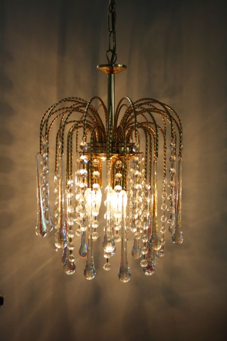 Onbekende Designer Teardrop Chandelier Brass And Glass