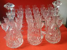 Antonio Imperatore crystal set of glasses, bottles and carafe, complete for 6 people, Italy, late 20th century.