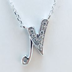 18 kt white gold initial necklace with diamond-studded letter 'N' - 0.03 ct G/Si - length 40 cm