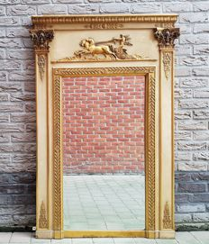 An Empire style partly gilded wooden mantelpiece mirror - France - second half 19th century