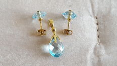 Topaz pendant on 18 kt/750 yellow gold, stud earrings topaz and 18 kt/750 gold