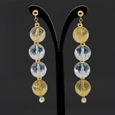 18k/750 yellow gold earrings with assorted gemstones and cultured pearls - Length, 62 mm.