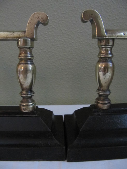 a pair of brass  cast iron fireplace dogs  andirons Cast Iron Andirons Marked 52 Fireplace Andirons