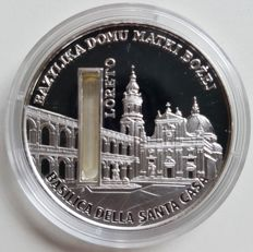 Sierra Leone – 10 Dollars 2009 'Basilica of the Holy House' with holy water – 1 oz silver