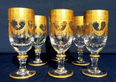 Antique and rare set of 6 crystal glasses by Baccarat Harcourt Empire - France, C. 1841