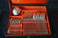 36-piece silverware set from CHRISTOFLE in box, with ladle of a different model, hallmark: weighing scale