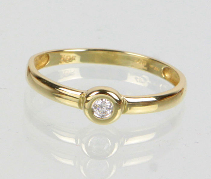 Brilliant solitaire ring 585 yellow gold - RS 60