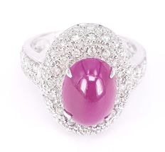4.37 carats Ruby and 1.31 carats Diamond Ring in 18 kt White Gold