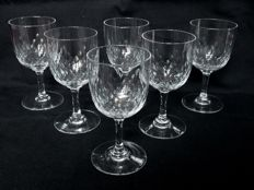 6 Port wine glasses in Baccarat crystal, model Richelieu, France, prior to 1936