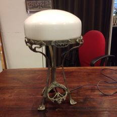 Metal lamp foot with milk glass shade in Art Nouveau style, 20th century