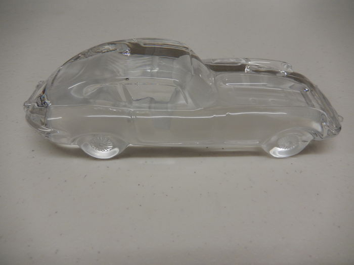 Vintage Lead Crystal (over 24%)  Glass Jaguar E Type Heavy Paperweight Model Satin Finish by Hofbauer