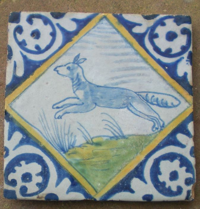 Antique square tile, tile with special depiction of a Fox (Rare)
