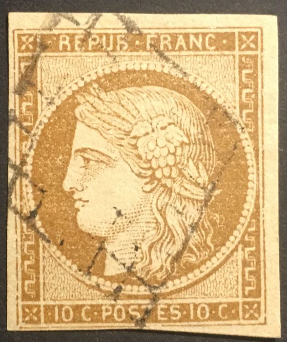 France 1850 - Cérès type bistre-brown signed Calves - Yvert 1a
