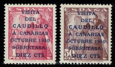 Spain 1951 - Caudillo's visit to the Canary Islands Second issue - Edifil 1088/1089