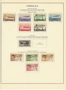 Italian Colonies - 1931-1935 - collection with Tripolitania and Somaliland on albums sheets with zeppelin set from 1933