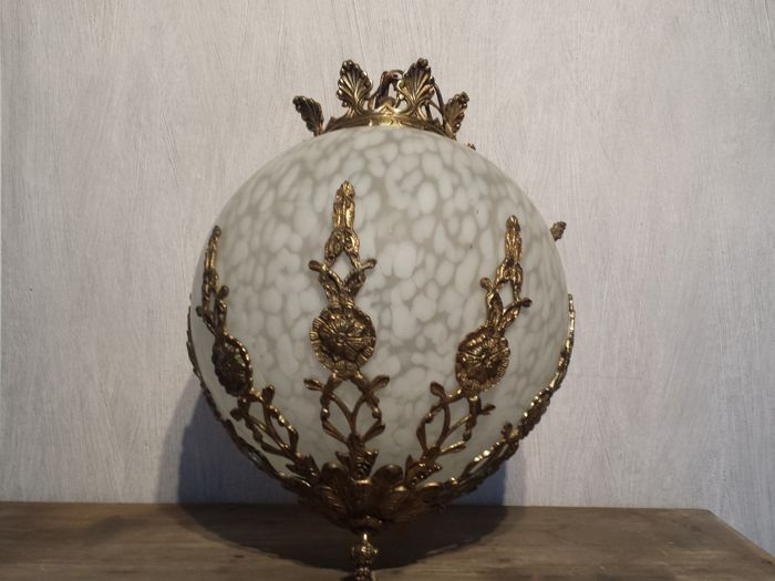 Large glass globe lamp with bronze ornamental fittings and a crown