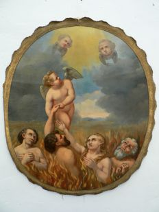 "Painting ""Purgatory"", oil on canvas - Flanders (Belgium) - 18th - 19th century"