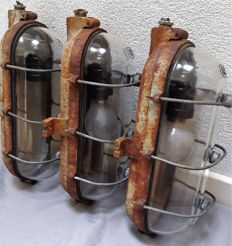 Three cast iron stable lamps Industria Rotterdam - 1950s/60s