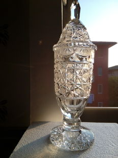 Crystal vase with lid, early 1900s