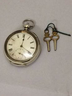 Antique silver pocket watch - Swiss made - late 19th century