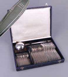 Apollo Paris - Art Deco silver-plated flatware set for 12 people - in original box