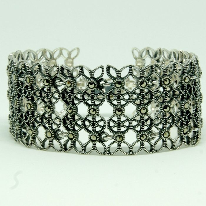 925 Sterling Silver Hand Made Bracelet with marcasites