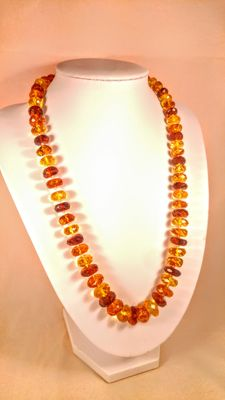 Faceted beads Baltic amber necklace, length ca. 52 cm