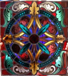Church stained glass window rosette - 19th century - Portuguese