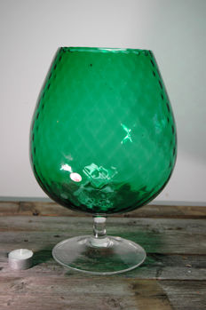 Very large mouth blown glass - Green