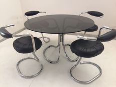 "Giotto Stoppino - ""Cobra"" Set - 4 Chairs and Table"