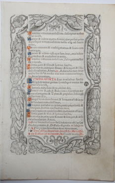 Manuscript; Original leaf from a book of hours from France - (1550)