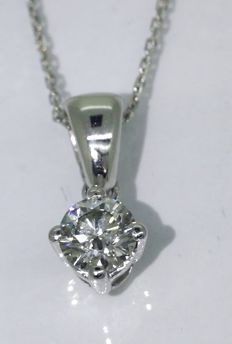 Solitaire pendant with 1 brilliant cut diamond of 0.32 ct - ***No reserve price***