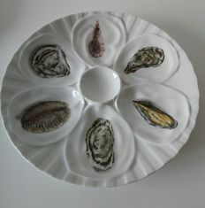 "Lot of six oyster plates from Mehun s. Yèvre ""L'Hirondelle"""
