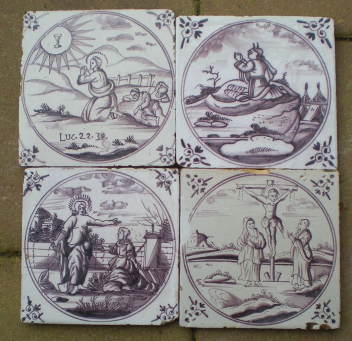 Lot with four antique tiles with biblical depictions (special depictions)