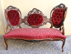 French carved sofa - Louis XV  style - 19th century