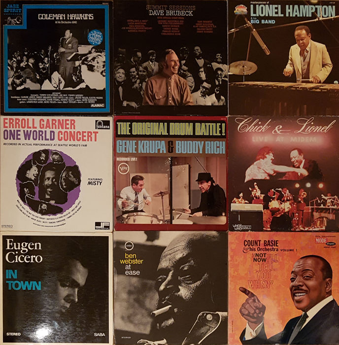 9 hard to find and very collectible jazz albums by Dave Brubeck, Gene Krupa / Buddy Rich, Coleman Hawkins, Chick Corea / Lionel Hampton, Erroll Garner, Count Basie, Ben Webster and Eugen Cicero