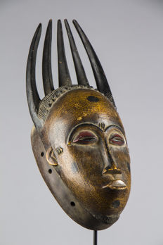 Polychrome mask Gou with 5 horns - Gouro - Ivory Coast